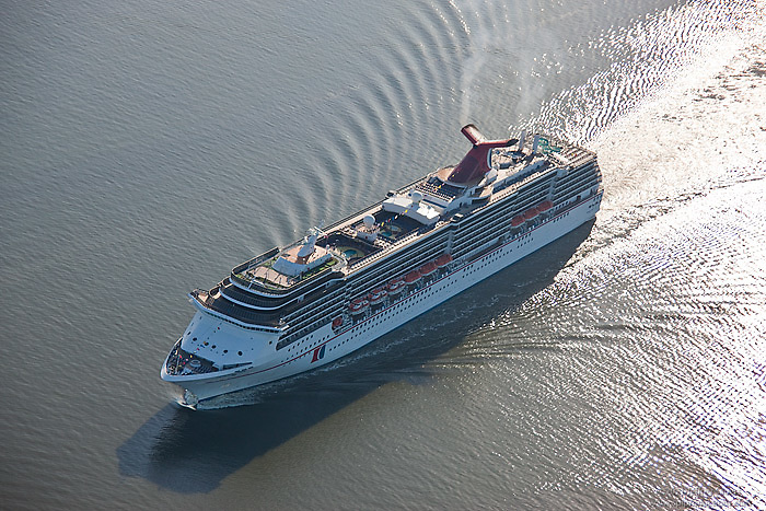 Aerial image of the Carnival Pride Cruise ship in the Patpsco River heades for the Port of Baltimore