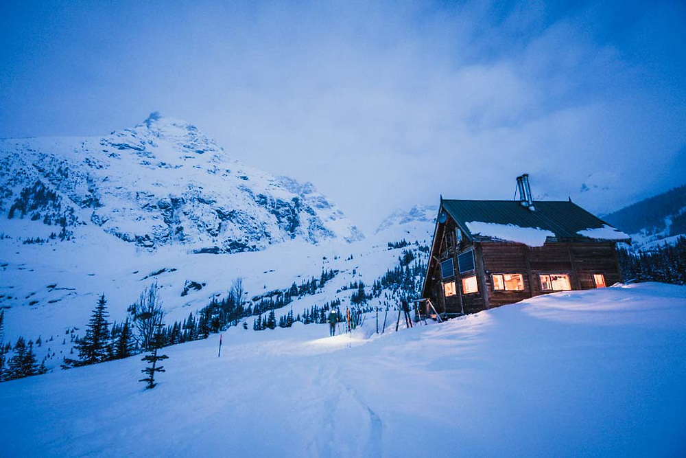 Morning twilight Burnie Glacier Chalet, Howson Range, British Columbia.