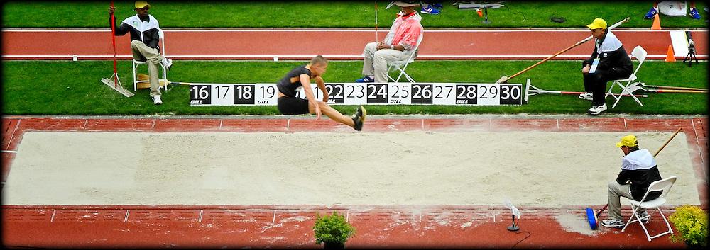 Trey Hardee in the long jump, 22 June 2012, Hayward Field, Eugene, Oregon, USA.
