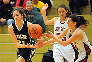 Council Rock North's Dana Bandurick #21 loses control of the ball for a second as Boyertown's Alli Marcus #5 gives chase in the second quarter Saturday February 13, 2016 at Boyertown High School in Boyertown, Pennsylvania. (Photo by William Thomas Cain)