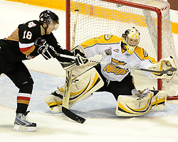Kris Foucault of the Calgary Hitmen bats the puck away from Brandon Wheat Kings goalie Jacib De Serres in Game 6 of the 2010 MasterCard Memorial Cup in Brandon, MB on Wednesday May 19, 2010. Photo by Aaron Bell/CHL Images