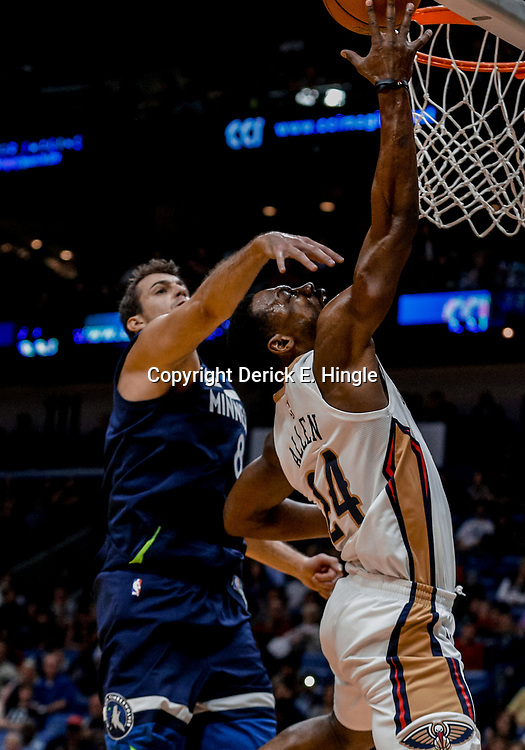 Nov 1, 2017; New Orleans, LA, USA; New Orleans Pelicans guard Tony Allen (24) shoots over Minnesota Timberwolves forward Nemanja Bjelica (8) during the second half of a game at the Smoothie King Center. The Timberwolves defeated the Pelicans 104-98. Mandatory Credit: Derick E. Hingle-USA TODAY Sports