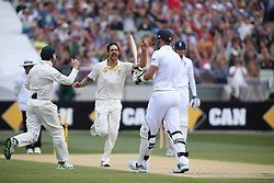 © Licensed to London News Pictures. 27/12/2013. Kevin Pietersen walks off after getting bowled by Mitchell Johnson during Day 2 of the Ashes Boxing Day Test Match between Australia Vs England at the MCG on 27 December, 2013 in Melbourne, Australia. Photo credit : Asanka Brendon Ratnayake/LNP
