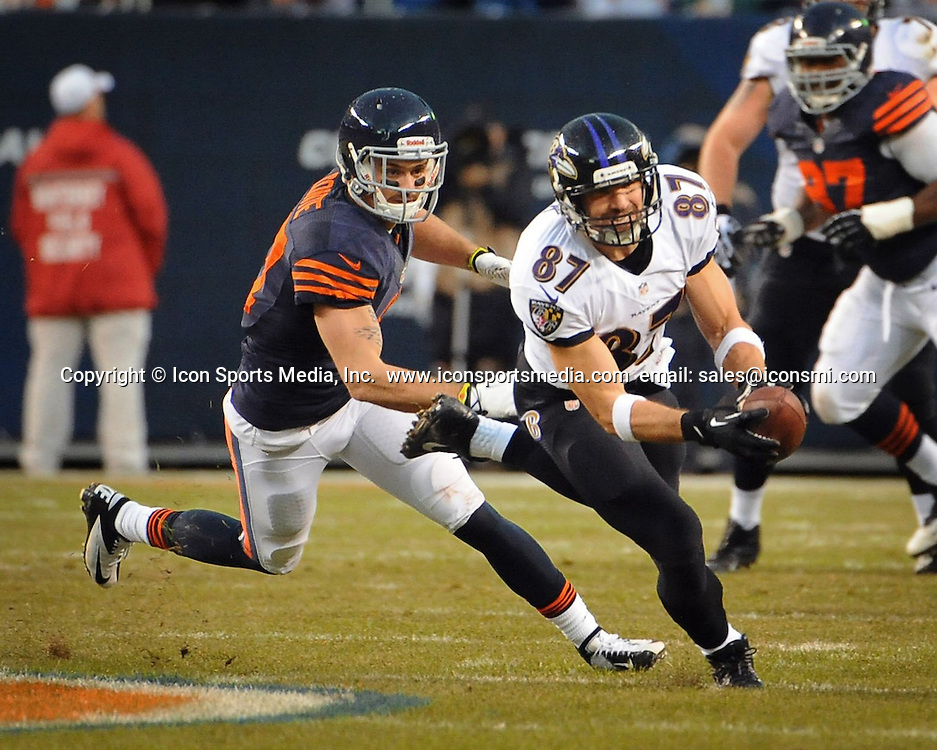 Nov. 17, 2013 - Chicago, IL, USA - Dallas Clark, right, of the Baltimore Ravens catches a pass in front of Chris Conte, left, of the Chicago Bears for 7 yards during the first quarter at Soldier Field in Chicago on Sunday, Nov. 17, 2013