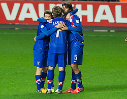 SWANSEA, WALES - Tuesday, March 26, 2013: Croatia's Ivan Rakitic and Vedran Corluka celebrate after beating Wales 2-1 during the 2014 FIFA World Cup Brazil Qualifying Group A match at the Liberty Stadium. (Pic by Tom Hevezi/Propaganda)