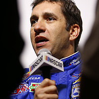 Daytona Beach, FL - Feb 22, 2017: Elliott Sadler (1) meet with the media during the annual Daytona 500 Media Day at the Daytona International Speedway in Daytona Beach, FL.