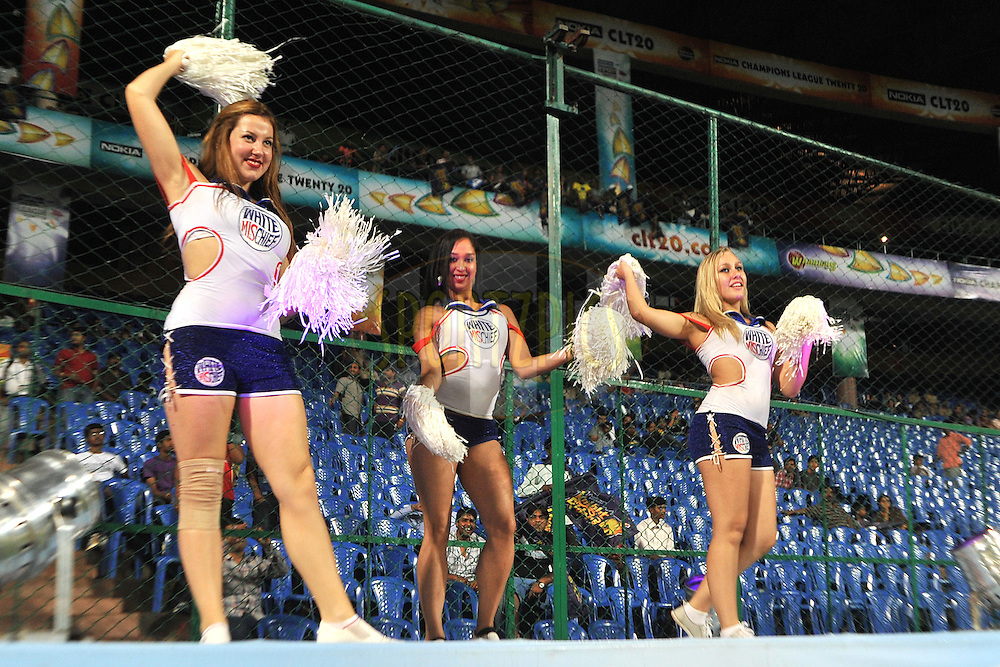 Cheerleaders during match 13 of the NOKIA Champions League T20 ( CLT20 ) between the Kolkata Knight riders and The Warriors held at the  M.Chinnaswamy Stadium in Bangalore , Karnataka, India on the 1st October 2011..Photo by Pal Pillai/BCCI/SPORTZPICS