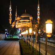 A view of the Blue Mosque at night from Sultanahmet Square. While it is widely known as the Blue Mosque for the its interior tiling, the mosque's formal name is Sultan Ahmed Mosque (or Sultan Ahmet Camii in Turkish). It was built from 1609 to 1616 during the rule of Sultan Ahmed I.
