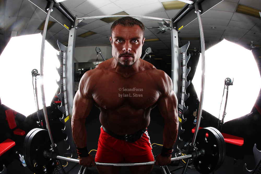 IFBB Professional bodybuilder Daniel Hill working out at the Power of Fitness Gym.