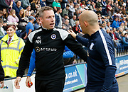 Neil Harris Manager of Millwall and Alex Neil Manager of Preston North End shake hands during the EFL Sky Bet Championship match between Preston North End and Millwall at Deepdale, Preston, England on 23 September 2017. Photo by Paul Thompson.