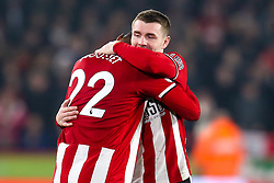 Lys Mousset of Sheffield United celebrates with teammate John Fleck after scoring a goal to make it 2-0 - Mandatory by-line: Robbie Stephenson/JMP - 24/11/2019 - FOOTBALL - Bramall Lane - Sheffield, England - Sheffield United v Manchester United - Premier League