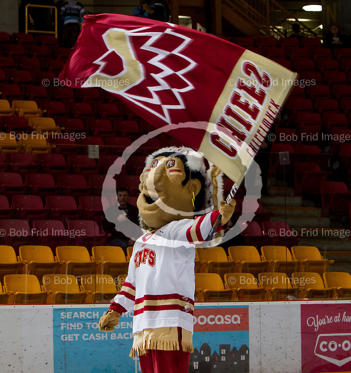 22 November 2014:   mascot during a game between the Chilliwack Chiefs and the Coquitlam Express at Prospera Centre, Chilliwack, BC.    ****(Photo by Bob Frid - All Rights Reserved 2014): mobile: 778-834-2455 : email: bob.frid@shaw.ca ****