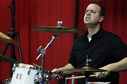 29 December 2011:  Darin Holthaus, drummer.  The BrusfhFire Band performed during an NCAA mens basketball game between the Northern Illinois Panthers and the Illinois State Redbirds in Redbird Arena, Normal IL