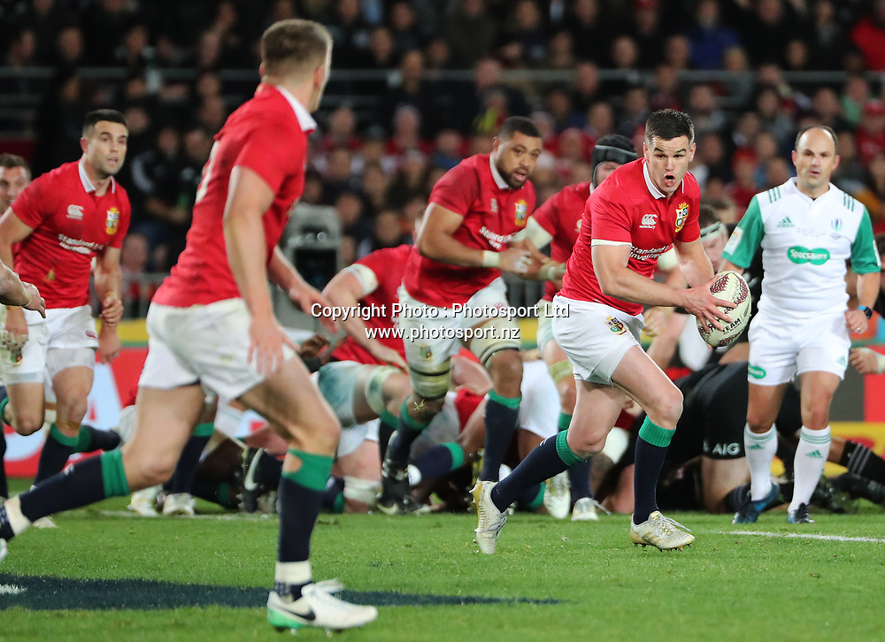 Lions five eighth Jonathan Sexton during the 30-15 All Black win in the first test match of the DHL Lions Series 2017 played between the All Blacks and the British and Irish Lions at Eden Park, Auckland on 24th June 2017. <br /> Copyright Photo; Peter Meecham/ www.photosport.nz