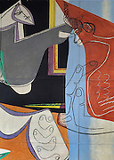 Detail of the painted mural entitled 'the painting of silence', 1948, by Le Corbusier (Charles-Edouard Jeanneret, 1887-1965), and furniture by Charlotte Perriand, 1903-1999, in the curved lounge or Salon Courbe of the Fondation Suisse or the Swiss Foundation, designed by Le Corbusier and Pierre Jeanneret (his cousin, 1896-1967), and inaugurated 1930, in the Cite Internationale Universitaire de Paris, in the 14th arrondissement of Paris, France. This painted mural replaced an earlier photographic mural from 1933. The structure sits on stilts and the reception area has an open floor plan, the facade is simple and flat with many windows and there is a rooftop garden. It is listed as a historic monument. The CIUP or Cite U was founded in 1925 after the First World War by Andre Honnorat and Emile Deutsch de la Meurthe to create a place of cooperation and peace amongst students and researchers from around the world. It consists of 5,800 rooms in 40 residences, accepting another 12,000 student residents each year. Picture by Manuel Cohen. L'autorisation de reproduire cette œuvre doit etre demandee aupres de l'ADAGP/Permission to reproduce this work of art must be obtained from DACS.