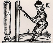 A Pyrotechnist or Firework-maker making a rocket. He is pulling the end of a rocket case very tightly so that it will take the explosive charge properly.  From 'A Rich Cabinet, with Variety of Inventions' by John White (London, 1658).