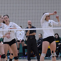 5th year outside hitter Jenna Krahn (15) of the Regina Cougars in action during the Women's Volleyball Home Game vs Trinity Western  on October 28 at the CKHS University of Regina. Credit Matt Johnson/Arthur Images