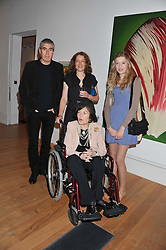 Left to right, ADAM McEWEN,his sister SAM McEWEN, BROOKE MASON and ROMANA McEWEN (In wheelchair) at a private view of work by the late Rory McEwen - The Colours of Reality, held at the Shirley Sherwood Gallery, Kew Gardens, London on 20th May 2013.