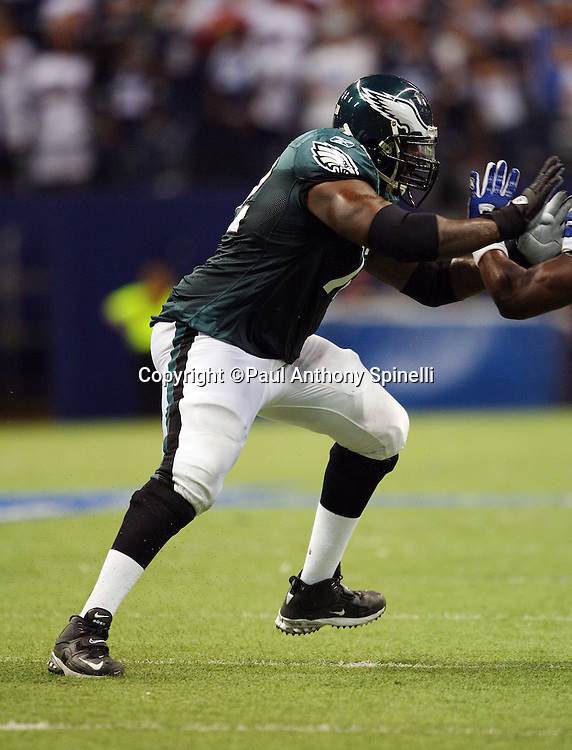 IRVING, TX - SEPTEMBER 15:  Offensive tackle Tra Thomas #72 of the Philadelphia Eagles blocks during the game against the Dallas Cowboys at Texas Stadium on September 15, 2008 in Irving, Texas. The Cowboys defeated the Eagles 41-37. ©Paul Anthony Spinelli *** Local Caption *** Tra Thomas