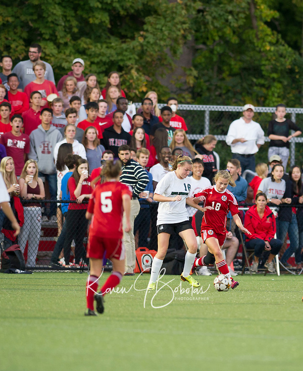 St Paul's School girls soccer with New Hampton.  ©2015 Karen Bobotas Photographer