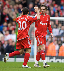 LIVERPOOL, ENGLAND - Saturday, February 23, 2008: Liverpool's Fernando Torres celebrates scoring Liverpool's second goal with Javier Mascherano against Midlesbrough during the Premiership match at Anfield. (Photo by David Rawcliffe/Propaganda)