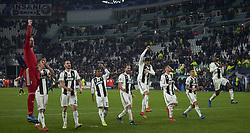 November 27, 2018 - Turin, Italy - Juventus players celebrates the victory at the end of the UEFA Champions League match between Juventus and Valencia CF at Allianz Juventus Stadium  in Turin, Italy on November 27, 2018  (Credit Image: © Jose Breton/NurPhoto via ZUMA Press)
