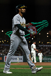 SAN FRANCISCO, CA - AUGUST 13: Marcus Semien #10 of the Oakland Athletics returns to the dugout after striking out against the San Francisco Giants during the ninth inning at Oracle Park on August 13, 2019 in San Francisco, California. The San Francisco Giants defeated the Oakland Athletics 3-2. (Photo by Jason O. Watson/Getty Images) *** Local Caption *** Marcus Semien