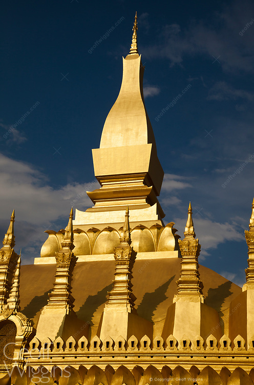 The gold-covered Buddhist stupa of Pha That Luang in the center of Vientiane, Laos. It is generally regarded as the most important national monument in Laos and a national symbol