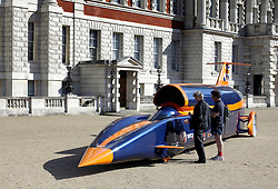 © under license to London News Pictures.  12/04/2011 The Bloodhound SSC show car was parked at Horse Guards Parade this morning,12/04/2011. The event coincided with the publication of the full design drawings at its sponsors (Institution of Mechanical Engineers) headquarters.  The Bloodhound team aim to break the land speed record and are aiming for 1000mph  Picture credit should read Ed Brown/London News Pictures
