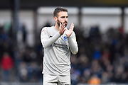 Ben Close (33) of Portsmouth applauds the travelling fans at full time during the EFL Sky Bet League 1 match between Bristol Rovers and Portsmouth at the Memorial Stadium, Bristol, England on 26 October 2019.