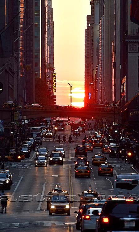 Sunset on 42nd Street, Manhattan, NYC.
