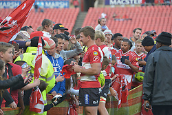 28-07-18 Emirates Airline Park, Johannesburg. Super Rugby semi-final Emirates Lions vs NSW Waratahs. Flanker Kwagga Smith signs a cap for fans after the game.<br />  Picture: Karen Sandison/African News Agency (ANA)