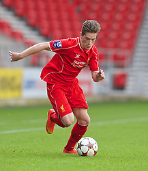 LIVERPOOL, ENGLAND - Tuesday, September 16, 2014: Liverpool's Ryan Kent in action against PFC Ludogorets Razgrad during the UEFA Youth League Group B match at Langtree Park. (Pic by David Rawcliffe/Propaganda)