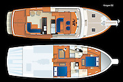 Vector rendering of the main deck and lower deck accommodation plans of the Korgen 52 motoryacht.