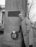 Workers Party Commemoration Of James Larkin.(R50)..1987..07.02.1987..02.07.1987..7th February 1987..A wreath laying ceremony was held today at the memorial for Trade Union leader,James Larkin. The ceremony was conducted the Workers' Party. Mr Tomás McGiolla, leader of the Workers'Party, laid the wreath at the memorial in O'Connell Street, Dublin. The ceremony was held to commomerate the 40th anniversary of the death of James Larkin...Image shows Mr McGiolla, Leader of The Workers' Party, laying the wreath to commemorate the 40th anniversary of the death of Jim Larkin.
