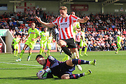 Scott Davies and Asa Hall during the Vanarama National League match between Cheltenham Town and Tranmere Rovers at Whaddon Road, Cheltenham, England on 26 September 2015. Photo by Antony Thompson.