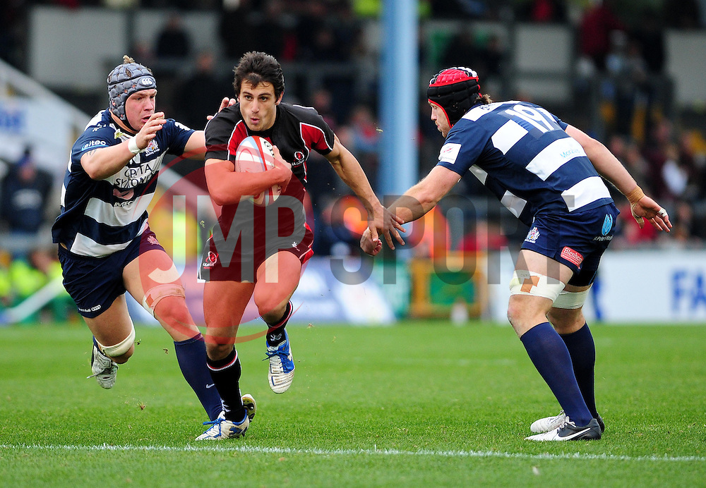 Ulster Ravens' Rory Scholes is challenged by Bristol Rugby's Mitch Eadie  - Photo mandatory by-line: Dougie Allward/JMP  - Tel: Mobile:07966 386802 21/10/2012 - SPORT - Rugby Union - British and Irish Cup -  Bristol  - The Memorial Stadium - Bristol Rugby V Ulster Ravens
