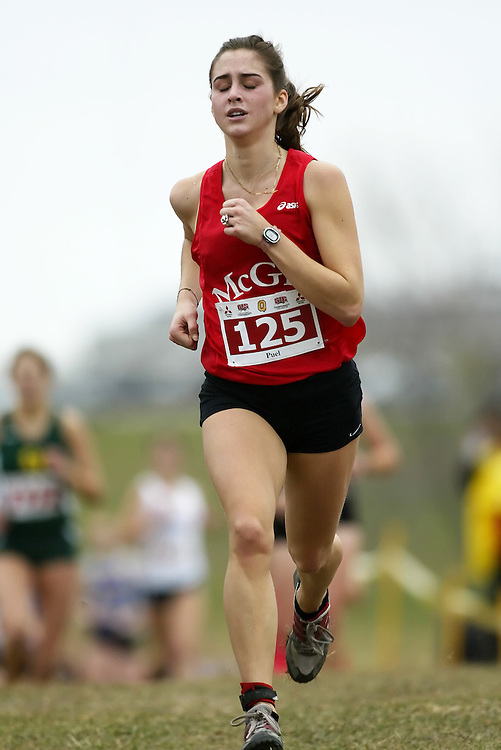 (Kingston, Ontario -- 14 Nov 2009)  CHARLENE PUEL of the McGill University runs to 108 place at the  2009 Canadian Interuniversity Sport CIS Cross Country Championships at Forth Henry Hill in Kingston Ontario. Photograph copyright Sean Burges / Mundo Sport Images, 2009.