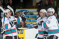 KELOWNA, CANADA - JANUARY 08: Gordie Ballhorn #4, Tyson Baillie #24 and Dillon Dube #19 of Kelowna Rockets celebrate the second goal in the first period against the Everett Silvertips on January 8, 2016 at Prospera Place in Kelowna, British Columbia, Canada.  (Photo by Marissa Baecker/Shoot the Breeze)  *** Local Caption *** Gordie Ballhorn #4; Dillon Dube #19; Tyson Baillie;