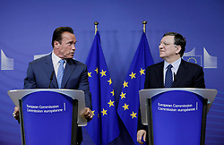 59895726  <br /> U.S. actor and former Governor of California Arnold Schwarzenegger (L) attends a press conference with European Commission President Jose Manuel Barroso after their meeting at the European Union headquarters in Brussels, capital of Belgium, on June 24, 2013. They talked about climate change during their meeting on Monday June 24, 2013.  Picture by imago / i-Images<br /> UK ONLY