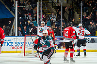 KELOWNA, BC - MARCH 02:  Nolan Foote #29 and Alex Swetlikoff #17 of the Kelowna Rockets celebrate a goal against the Portland Winterhawks at Prospera Place on March 2, 2019 in Kelowna, Canada. (Photo by Marissa Baecker/Getty Images)
