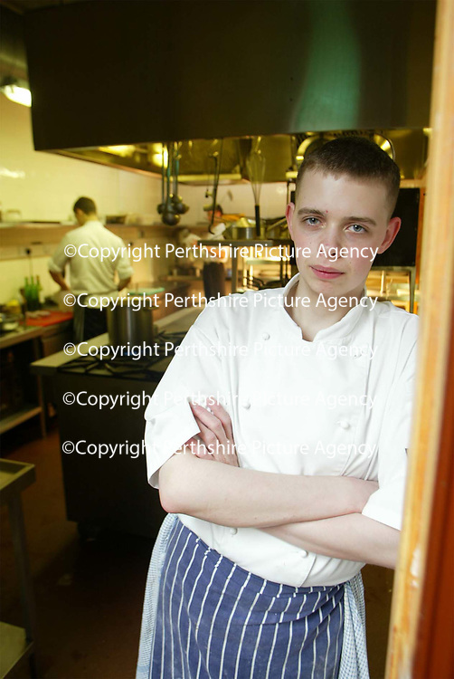 Daniel Richardson,16 year old Head Chef of The Loft restaraunt in Blair Atholl, Perthsire <br /><br />Picture by Graeme Hart.<br />Copyright Perthshire Picture Agency<br />Tel: 01738 623350  Mobile: 07990 594431
