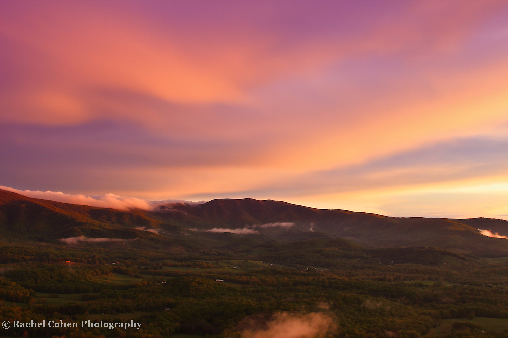 &quot;Power of Light&quot;<br /> <br /> The power of light is witnessed in this lovely pastel hued sunset in the Blue Ridge Mountains of Virginia!!<br /> <br /> The Blue Ridge Mountains by Rachel Cohen