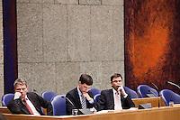 Nederland. Den Haag, 18 februari 2010.<br /> Bos, Balkenende en Rouvoet in vak K.<br /> Spoeddebat in de Tweede Kamer over de ontstane crisissituatie binnen het kabinet over Uruzgan, daags voor de val van het vierde kabinet Balkenende.<br /> Foto Martijn Beekman