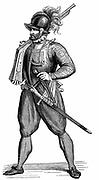 Foot soldier carrying an arquebus. Engraving after Cesare Vecellio 'Degli habiti antichi et moderni' 1590.