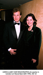 LORD & LADY IVAR MOUNTBATTEN at a party in London on November 26th 1996.LTU 12