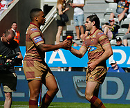 Jake Mamo  (R) of Huddersfield Giants celebrates scoring the try against Wakefield Trinity during the Betfred Super League match at the Dacia Magic Weekend, St. James's Park, Newcastle<br /> Picture by Stephen Gaunt/Focus Images Ltd +447904 833202<br /> 20/05/2018