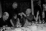 ALAIN DE BOTTON; JAMES FOX; JEMIMA KHAN; JOHN MALKOVICH; HELENA BONHAM CARTER; MATTHEW FREUD, Freud Museum dinner, Maresfield Gardens. 16 June 2011. <br /> <br />  , -DO NOT ARCHIVE-© Copyright Photograph by Dafydd Jones. 248 Clapham Rd. London SW9 0PZ. Tel 0207 820 0771. www.dafjones.com.