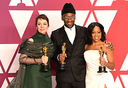 "Olivia Colman, winner of the Best Actress In A Leading Role Award for ""The Favourite""; Mahershala Ali, winner of the Best Actor In A Supporting Role Award for ""Green Book"" and Regina King, winner of the Best Actress In A Supporting Role Award for ""If Beale Street Could Talk"" at the 91st Annual Academy Awards (Oscars) presented by the Academy of Motion Picture Arts and Sciences.<br /> (Hollywood, CA, USA)"