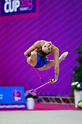 Agagulian Iasmina during qualifying at clubs in Pesaro World Cup at Adriatic Arena on April 14, 2018. Iasmina is an Armenian rhythmic gymnastics athlete born in Yerevan in 2001